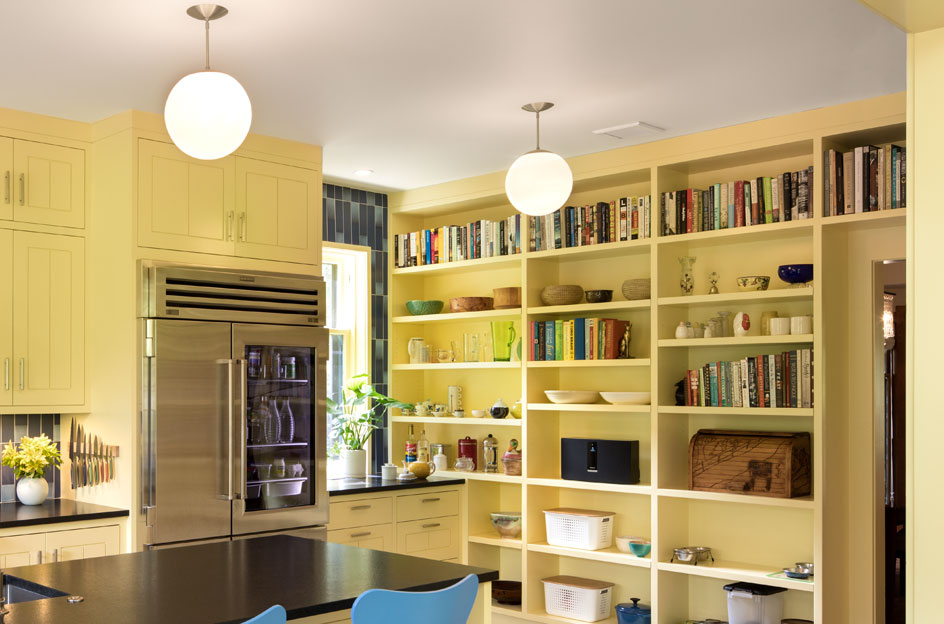 A wall of built-in bookshelves